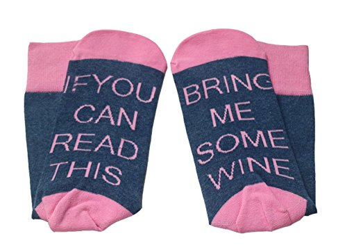 Women's Cotton Funny Crew Socks Novelty Funky Cute Wine Party Valentine's Day Gifts (Pink Blue) (Fun Wine)