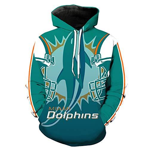 eeve 3D Digital Print Miami Dolphins Football Team Pullover Hoodies(XXL,Blue) ()