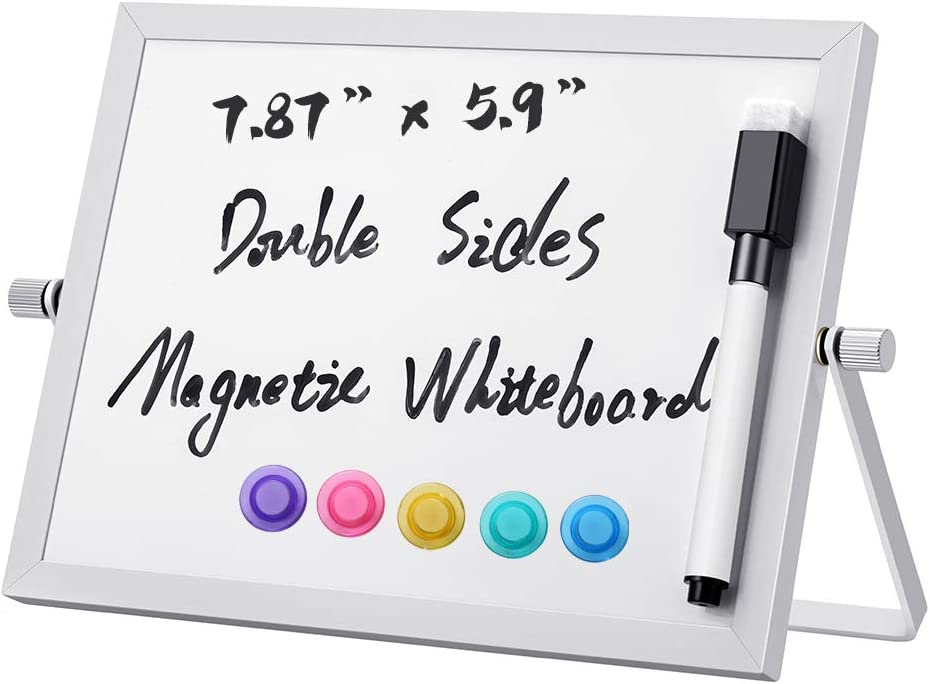 "AFAN Mini Double-Sided Magnetic Whiteboard, 7.87""x 5.9"" Portable Children's Drawing Writing whiteboard, Message Board, Suitable for School Home Office memo and Recording Important Information"