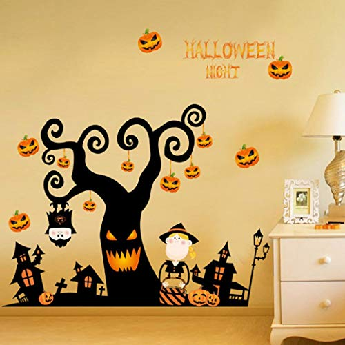 (JJLOVER ❤ Fashion DIY Happy Halloween Household Room Wall Sticker Mural Decor Decal Removable Skeleton)