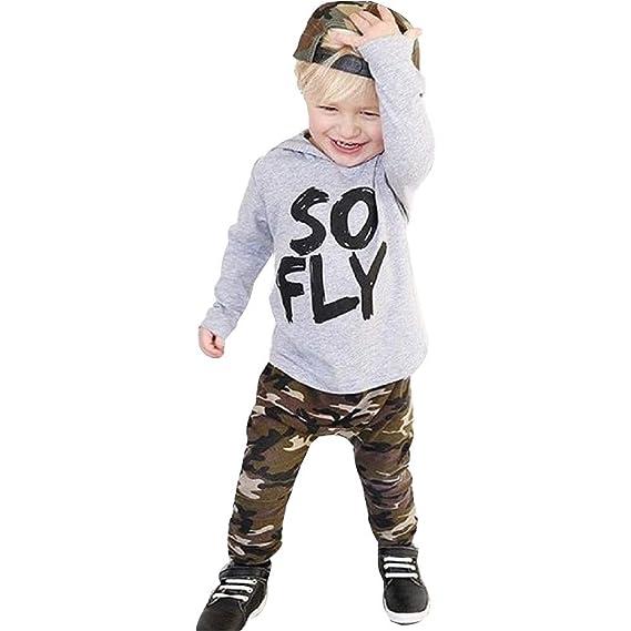 YanHoo Ropa para niños Conjuntos de Ropa para bebés niño Conjunto de  Pantalones de Camuflaje con Capucha y Manga Larga de bebé con Letras Camiseta  Tops + ... 6ce359838309