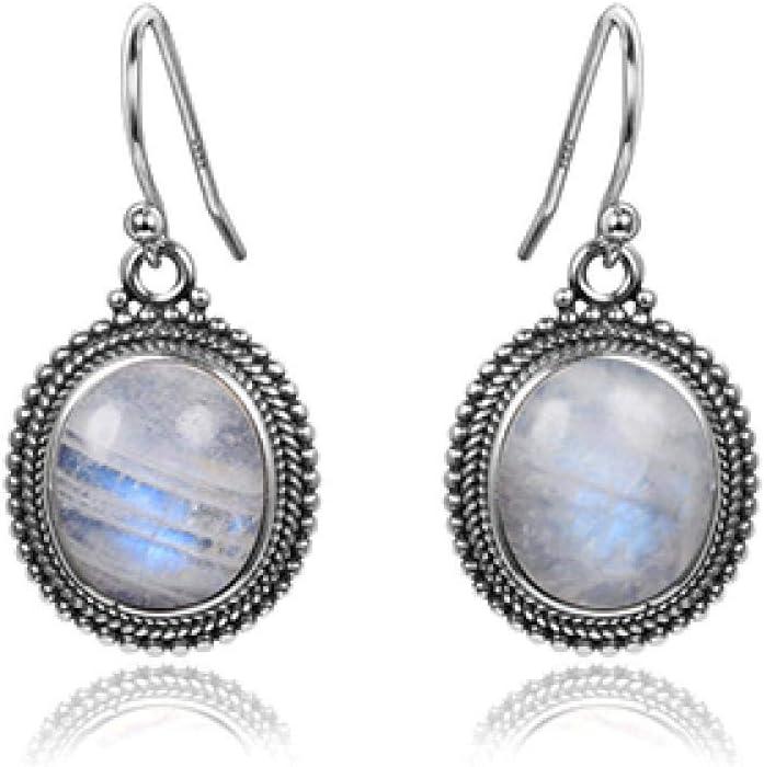 NOBRAND Joyas Pendientes Colgantes de Plata esterlina 925 10X12 Gran óvalo Piedra de Luna Natural Mujeres Moda Banquete de Boda