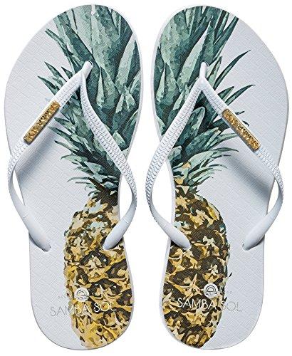 (Samba Sol Women's Fashion Collection Flip Flops - Pineapple White Strap)