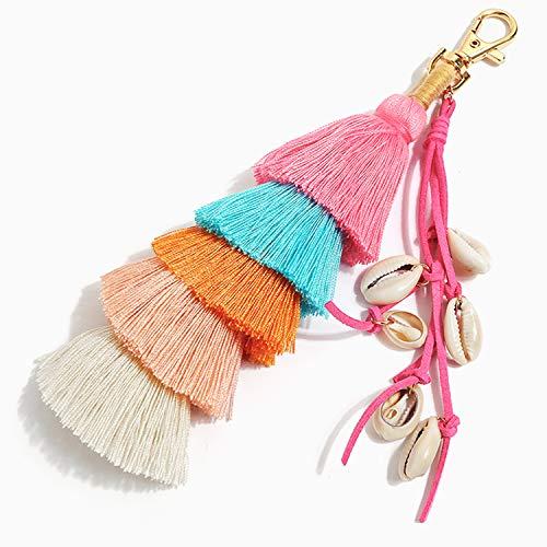 SNUG STAR Colorful Boho Pom Pom Key Chains Tassel Bags Keychains Leather Key Chains(Style03)