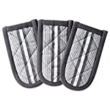 DII 100% Cotton, Machine Washable, Chef Stripe Quilted Pan Handle, Heat Resistant Everyday Kitchen Basic, Set of 3, Mineral Gray