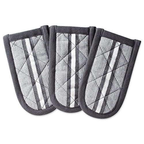 DII Cotton Stripe Quilted Pan Handle, 6x 3 Set of 3, Machine Washable and Heat Resistant for Everyday Kitchen Cooking and Baking-Mineral Gray