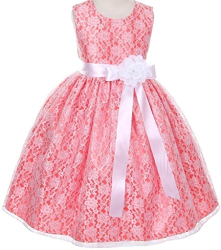 Price comparison product image Big Girls' Coral Dress Lace Custom Ribbon Flowers Girls Dresses White White 12