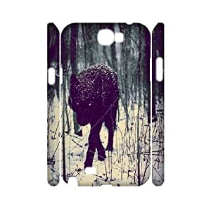 3D Black Wolf in the Forest Samsung Galaxy Note 2 Cases, Samsung Galaxy Note2 Cases Shock Absorb Binocara - White