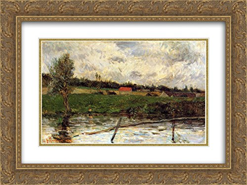 Paul Gauguin 2x Matted 24x18 Gold Ornate Framed Art Print 'Riverside (Breton - Riverside Galleria