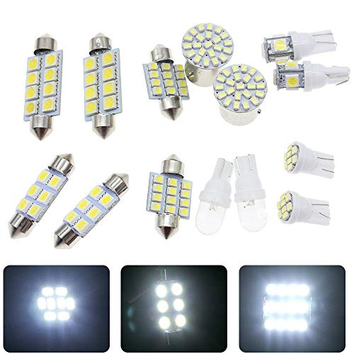 (14pc White LED Interior Package Kit T10 31mm Dome Map Brake Lights Bulbs US Ship)