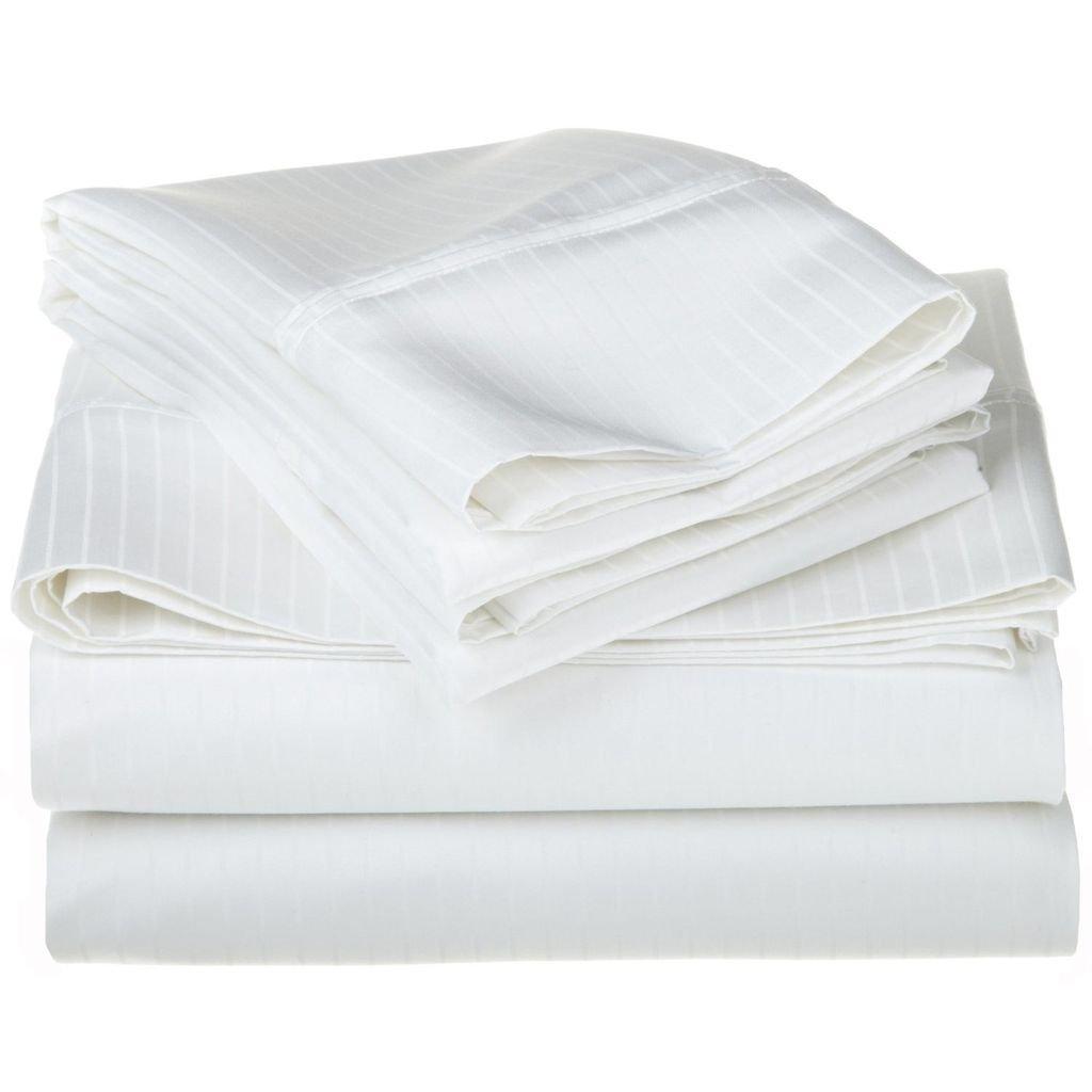 100% Egyptian Cotton 1000 Thread Count Oversized King Sheet Set Stripe, White