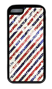 iPhone 5C Case, Personalized Protective Rubber Soft TPU Black Edge Case for iphone 5C - Red And Blue Stripes Cover