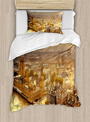 Cityscape Duvet Cover Set Twin Size by Ambesonne, Westminster Aerial View with Thames River and London Urban Cityscape Panoramic, Decorative 2 Piece Bedding Set with 1 Pillow Sham, Gold Grey Panoramic Cityscape