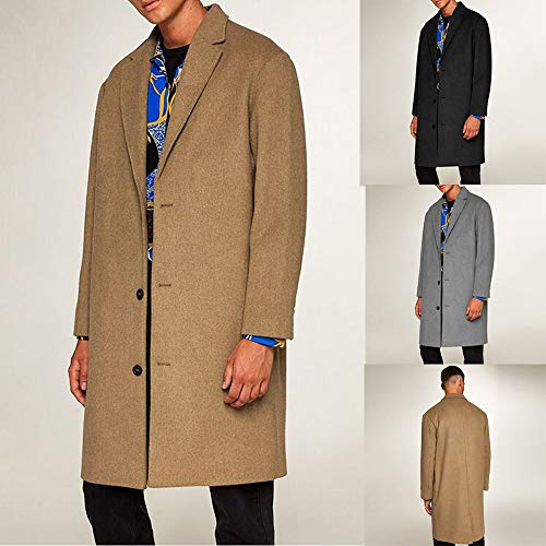 GREFER New Men Formal Single Breasted Figuring Overcoat Long Wool Jacket Outwear