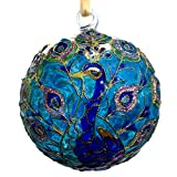 THE JOY TREE Cloisonne Peacock Glass Ball Ornament, Gift Boxed