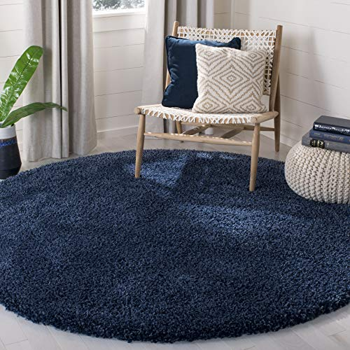 Safavieh California Premium Shag Collection SG151-7070 Navy Round Area Rug (4' Diameter) ()