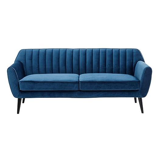 Sofá de 3 plazas, Vintage Azul de Terciopelo y Madera, de ...