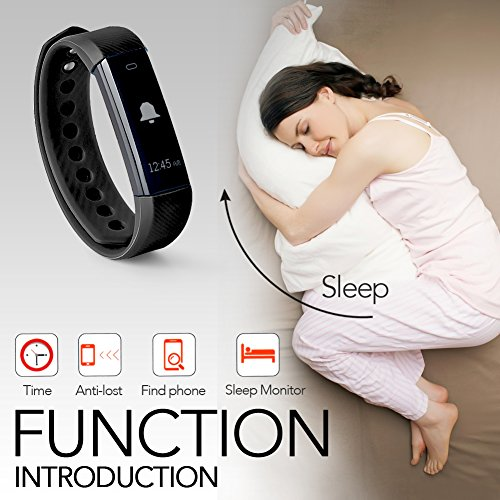 Fitness Tracker ID115 Heart Rate Monitor TopBest Sedentary Call Reminding Activity Tracker Sleep Calorie Counter Pedometer Wristband with Touch Screen Smart Bracelet For Android iOS Phone
