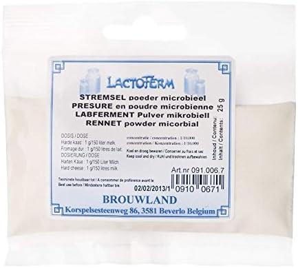 1 g de polvo es suficiente para 150 ml de leche.,Microbiano. Muy concentrado: 1/150.000.