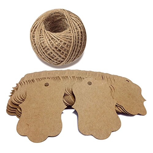 100 Blank Paper Hang Tags with Jute Twine