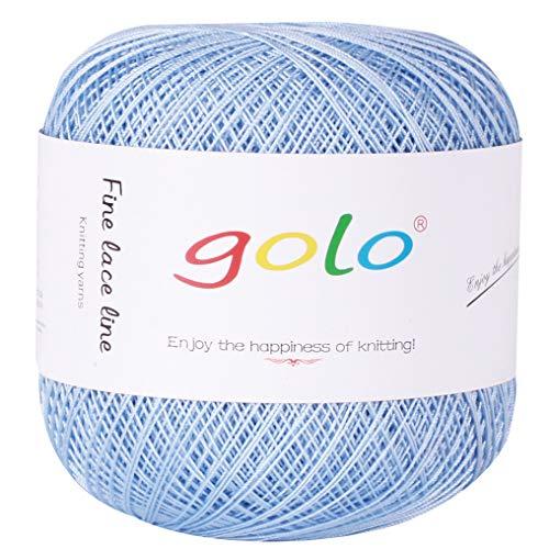 Crochet Thread Yarns for Begingers Size10-100% Contton Yarn for Knitting Crochet DIY Hardanger Cross Sitch Crochet Thread Balls Rainbow Turquoise 39 Colors Avilable (Sky ()