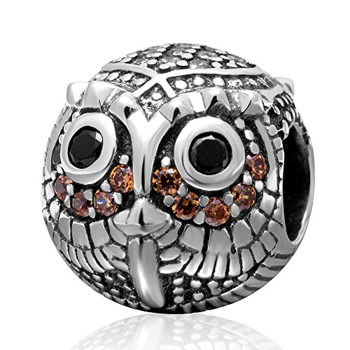 Wise Owl Charm with November Birthstone Authentic Sterling Silver Cubic
