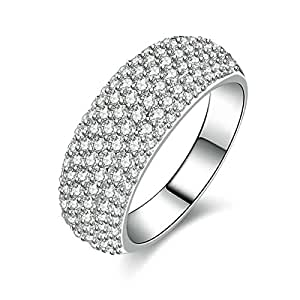 Daesar Sterling Silver Ring for Women Ring Promise Men Ring Iced Out Cubic Zirconia Ring Size 10.5