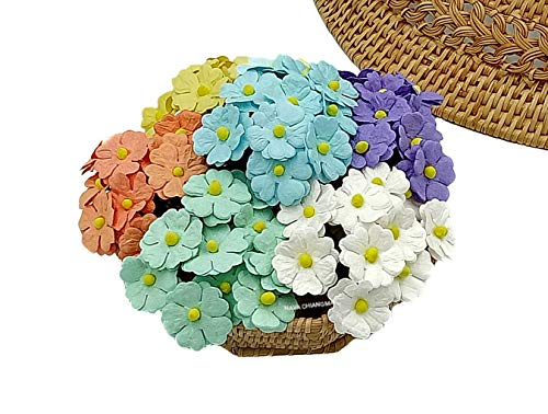 NAVA CHIANGMAI 60 pcs mixed Two Layer Mulberry Paper Flower 20 mm scrapbooking wedding doll house supplies ()