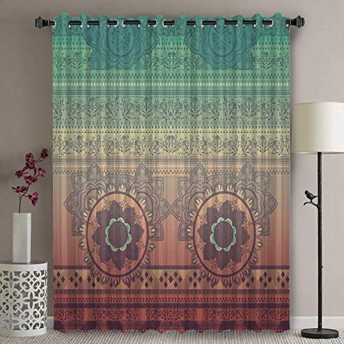 Libaoge Wide Thermal Blackout Patio Door Curtain Panel – 96 Inch Long Grommet Top Thermal Insulated Bedroom Darkening Curtain – Ombre Mandala Hippy Bohemian Gypsy Curtains for Sliding Glass Door
