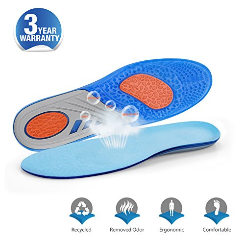Inside Zone Running Game (GEL Shock Absorption Sports Orthotic Comfortable Insoles Heel Protection Foot Arch Support Relieve Foot Pain/Heel Pain Unisex Inserts Free Tailoring(Unisex US5-US10))