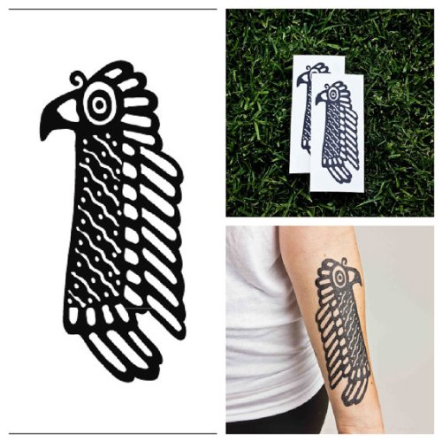 Tattify Tribal Bird Temporary Tattoo - Mayan Death Spirit (Set of -
