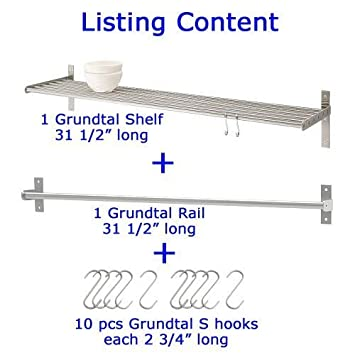 Amazon.com: Ikea Grundtal Kitchen Shelf Rail and Hooks Set ...