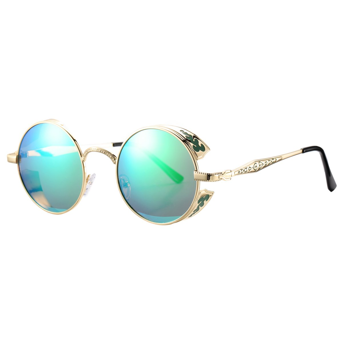 Pro Acme Retro Polarized Round Sunglasses Unisex Metal Frame Steampunk Glasses (Gold Frame/Green Mirrored Lens)