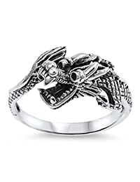Chinese Dragon Good Luck Fashion Ring New .925 Sterling Silver Band Sizes 6-13