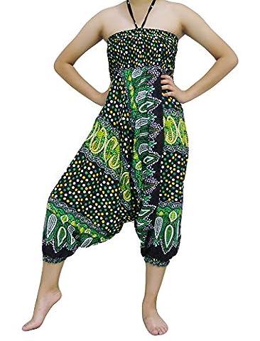Loong Cha's Unisex 2 Type Harem Jumpsuit pants,Fine Art Print Smocked Waist & Jump leg Version : I (BB1 Green)