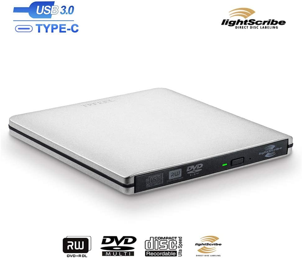 TPfeel External DVD CD Drive, Aluminum USB 3.0 Lightscribe DVD Burner Type-C Portable DVD CD +/-RW Rewriter Reader Slim Optical Drive Compatible with Macbook Laptop Desktop (Silver)