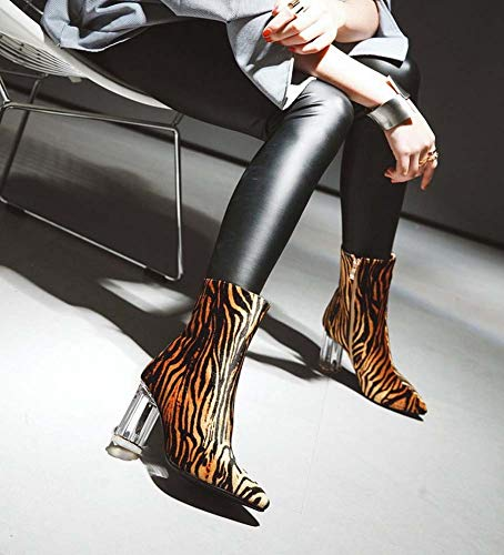 Invierno Cristal Acentuado de la Mujeres de 2018 Las de Botas Print Leopard Nuevo Leopardo de del Moda de tacón Botas SHINIK Grande UBZn7wqBA