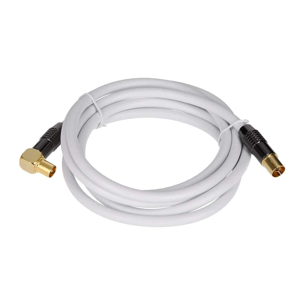 /Dorados en los Colores Blanco y Negro Antennenkabel gewinkelt 2m Blanco /Recta Y 90//° /ángulo/ Georges Premium Cable de Antena//Sat de Cable de Antena/