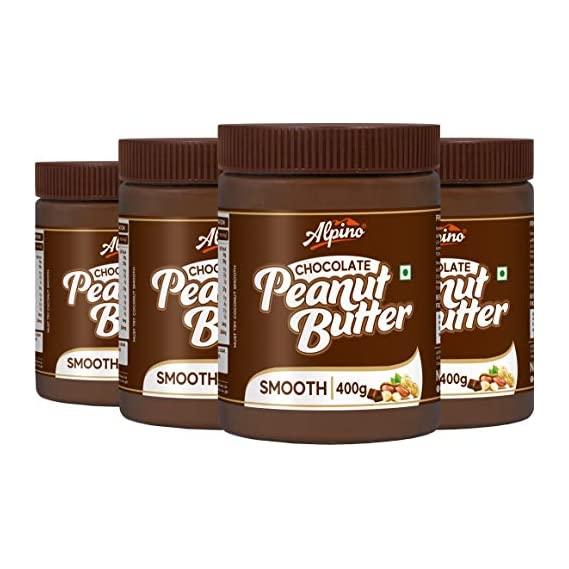 Alpino Chocolate Peanut Butter Smooth 1.6 KG | Made with Roasted Peanuts, Cocoa Powder & Choco Chips | 100% Non-GMO