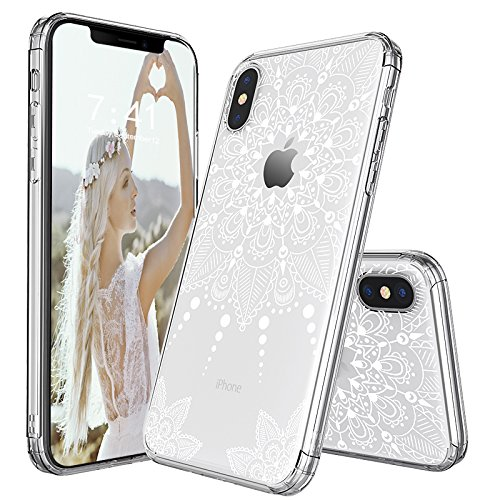 iPhone X Case, iPhone X Clear Case, MOSNOVO White Henna Mandala Lace Floral Clear Design Printed Transparent Plastic Back Case with TPU Bumper Protective Case Cover for iPhone X/iPhone 10