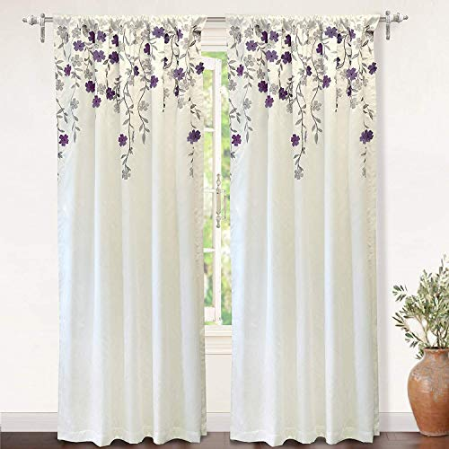 - DriftAway Isabella Faux Silk Embroidered Window Curtain, Embroidered Crafted Flower, Lined with Thermal Fabric, Single Panel, One Panel, 50