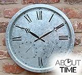 Galvanised Outdoor Garden Clock - 35cm (13.8'')