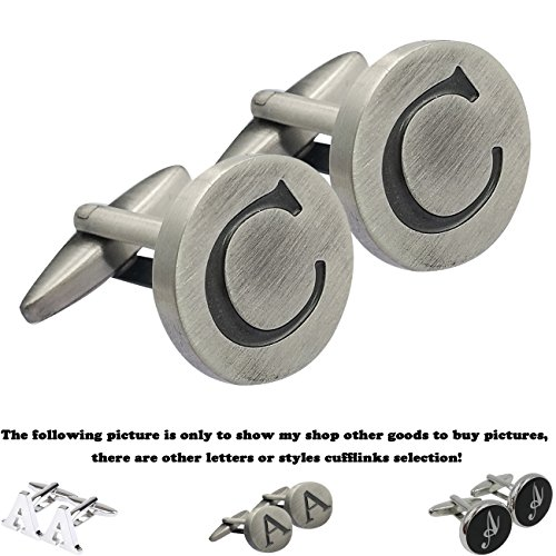 GGemony Men's Fashion Shirts Cufflinks 2PCS , Gift Box- Premium Quality Personalized letters A-Z (C-925 Antique Sterling silver)