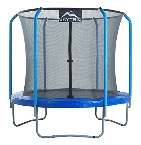 SKYTRIC Trampoline with Top Ring Enclosure System equipped with the 'EASY ASSEMBLE FEATURE', 8-Feet