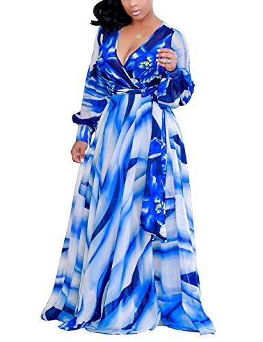 Akmipoem Women's Floral Print V Neck Long Sleeve Tie Waist Surplice Boho Maxi Dress