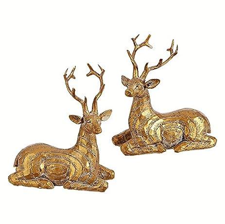 raz gold christmas reindeer set of 2 holiday ornaments decor