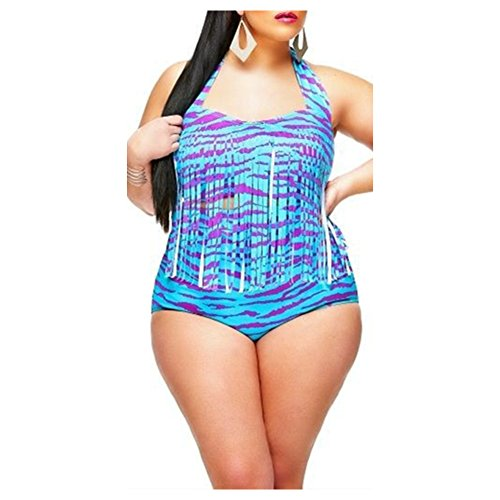 587a22d32877a MineSign Sexy Bikini Plus Size Swimsuit for Women 2 Pieces Underwire Top  High Wasit Bottom, Purple, 2XL