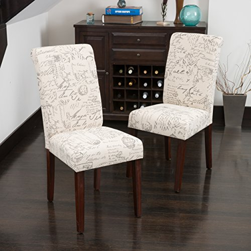 Christopher Knight Home Cosette s French Scripted Beige Linen Dining Chairs Set of 2