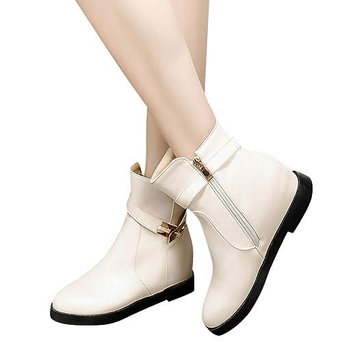 Botines Tacón Ancho Altas Cuña para Mujer Invierno Primavera 2019 PAOLIAN Botas Militares Tobillo Altas Casual Elegante Zapatos de Vestir Fiesta Vintage ...