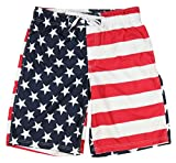 UZZI Mens Patriotic USA American Flag Swim Trunks (Medium)